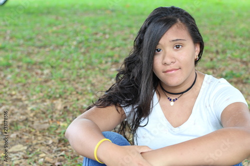Fototapeta Ethnic teen with copy space