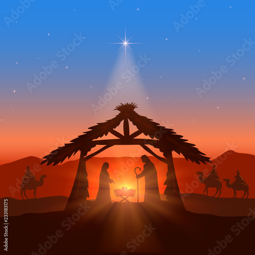 Fototapeta Christian Christmas with Star in Sky