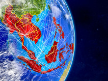 ASEAN Memeber States On Planet Earth With Networks. Extremely Detailed Planet Surface And Clouds.
