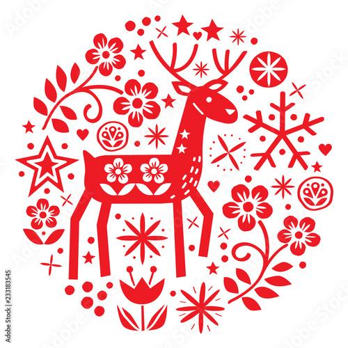 Christmas vector round design with reindeer, flowers, cute Scandinavian folk art Slika na platnu