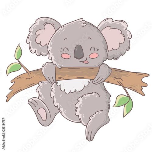 Naklejki koala  cute-happy-koala-hangs-on-a-branch
