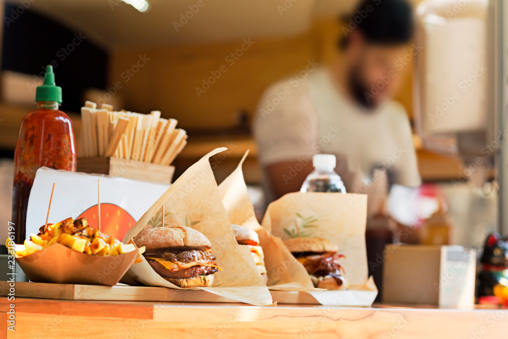 Fototapety, obrazy: food truck in city festival , selective focus