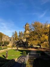 Vista Dell'Abbazia Di Notre Dame Di Orval In Autunno, Orval, Belgio
