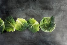 Savoy Cabbage And Row Of Cabba...