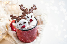 Hot Chocolate With Melted Marshmallow Reindeer
