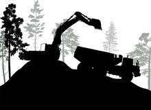 Black Excavator Silhouette Nea...