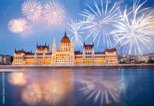 Fotomural  fireworks around Hungarian parliament-  New Year destination, Budapest