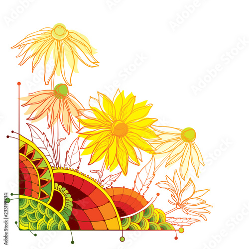 Fotografija  Vector corner bunch with outline Rudbeckia hirta or black-eyed Susan flower, ornate leaf and bud in yellow and pastel orange isolated on white background