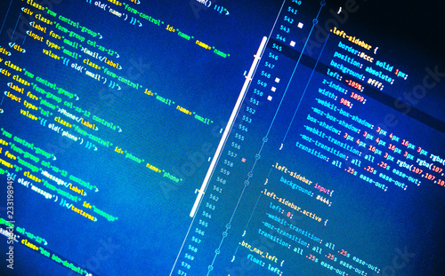Html and css code on blue background  Splitting of hlml and