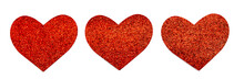 Panorama With Three Red Glitter Heart In A Row Isolated On White