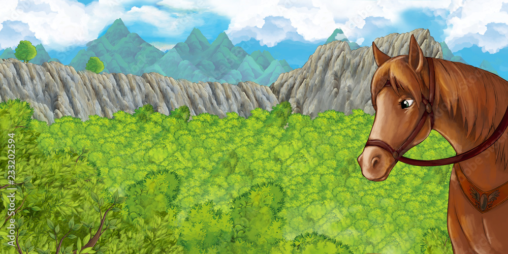 Cartoon scene of forest in the crater surrounded by mountains - horse standing and looking - illustration for children