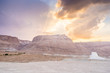Masada in Israel and the judean desert at sunset