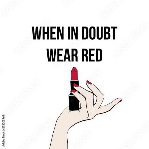 Female hand with red lipstick. Hand drawn lipstick. When in ...