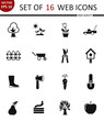 Garden. Set of 16 high quality web icons