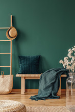 Pillow And Blanket On Bench In Green Apartment Interior With Plant, Pouf And Hat On Ladder. Real Photo