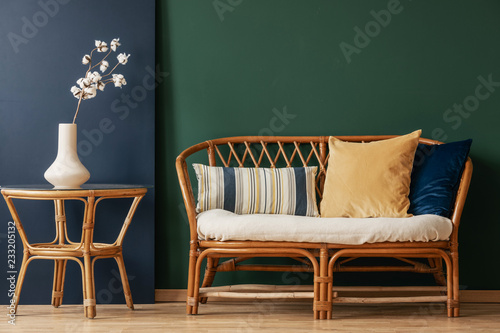 Fantastic Flowers On Natural Table Next To Sofa With Cushions In Green Uwap Interior Chair Design Uwaporg