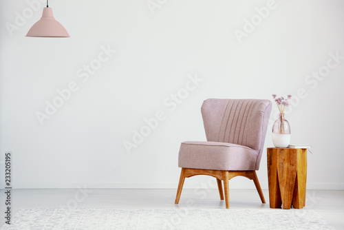 Fotografie, Obraz  Pink armchair next to wooden table with plant in flat interior with lamp and copy space