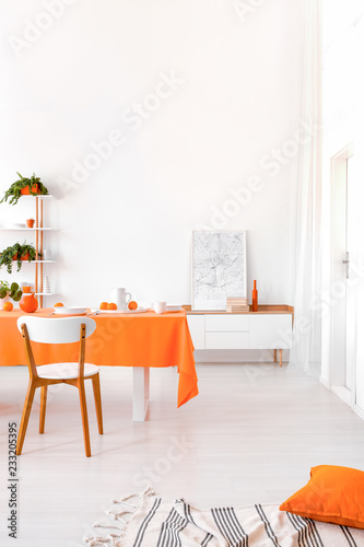 Fényképezés  Long table with orange cloth, plates and fruits standing in white living room in