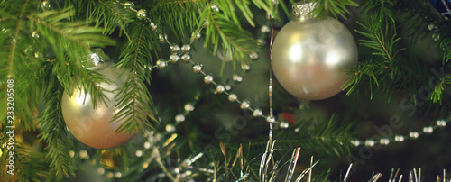 Obraz Silvery glass balls, tinsel and beads on green spruce branches. Close-up - fototapety do salonu