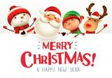 Fototapeta Fototapety na ścianę do pokoju dziecięcego - Merry Christmas! Happy Christmas companions with big signboard.
