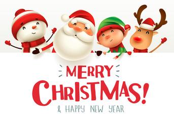 Obraz na Szkle Merry Christmas! Happy Christmas companions with big signboard.