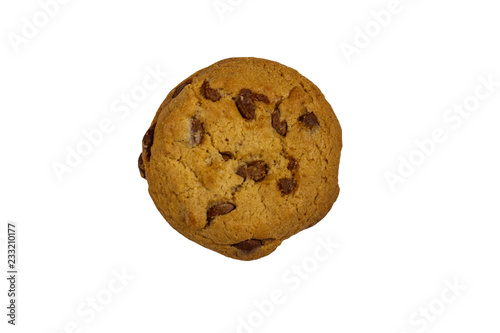 Tuinposter Koekjes Chocolate chip cookie isolated on white background