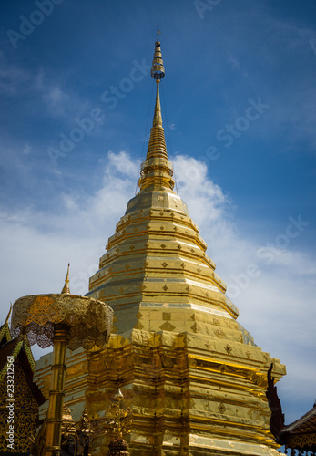 Spoed Foto op Canvas Bedehuis Wat Phra That Doi Suthep is a Theravada buddhist temple at beautiful near Chiang Mai, Thailand