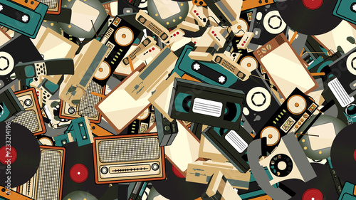 Poster Artificiel Texture, seamless pattern of old retro hipster electronics, mobile phones, tv recorder, player, audio tape, video recorder, game console, camera, computer. The background. illustration