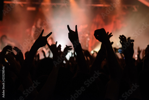 Photo Hand raised showing a heavy metal rock sign