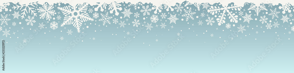 Fototapety, obrazy: Abstract Christmas top snowflake seamless border.