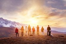 Group People Sunset Mountains View