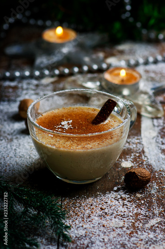 egg nog on a rustic background