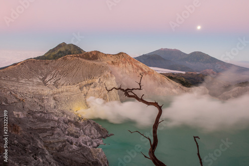 Sunrise over Ijen volcano, Indonesia.