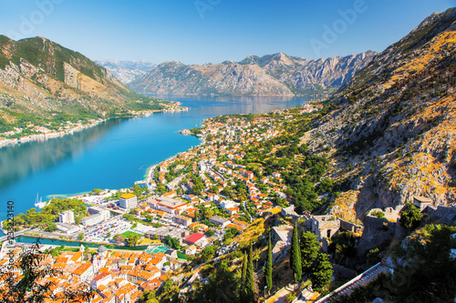 Tuinposter Poort Great view of harbour in sunny day at Kotor bay.