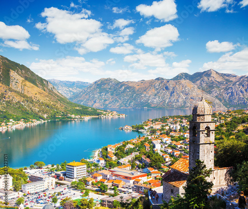 Keuken foto achterwand Poort Great view of Kotor bay (Boka Kotorska) in sunny day.
