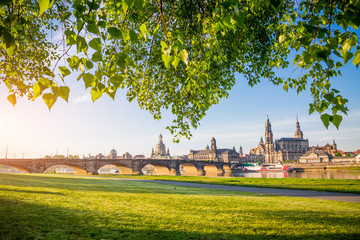 The embankment of ancient Dresden city on the Elbe river.