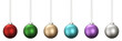 canvas print picture - 3D rendering of christmas ball set in vivid colors hanging isolated on white background