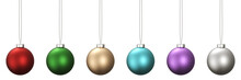 3D Rendering Of Christmas Ball Set In Vivid Colors Hanging Isolated On White Background