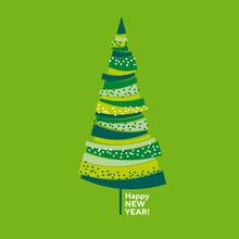 Naive Decorative Abstract Isolated Christmas Tree.