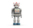 canvas print picture - 3d illustration of vintage robot toy isolated on white.