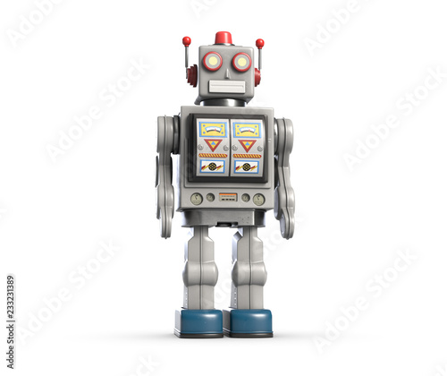 Photo 3d illustration of vintage robot toy isolated on white.