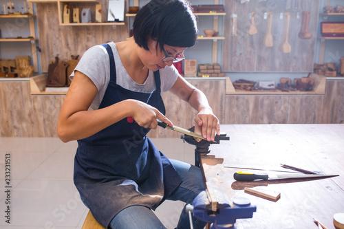 carpenter working in the studio
