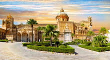 Panoramic View Of Cathedral Church, Of The Roman Catholic Archdiocese Of Palermo In Sicily - Italy.