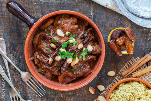 Chicken, date and honey tajine with couscous - top view