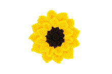 Sunflower Flower Head Crochet Of Wool At White Isolated Background