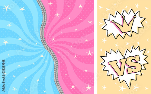 Fotografía Bright pink blue striped magic background for themed party in style LOL doll surprise