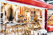 Reindeer Fur Horns Christmas Market In Rovaniemi Finland