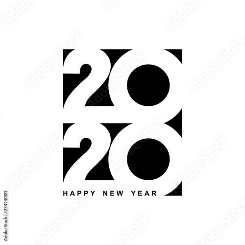 Fototapeta Happy New Year 2020 logo text design. Cover of business diary for 2020 with wishes. Brochure design template, card, banner. Vector illustration. Isolated on white background. obraz