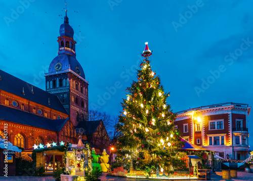 Wall Murals Bridges Glowing Christmas tree market near Riga Cathedral