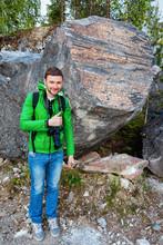 Man At Ruskeala Marble Canyon In Karelia